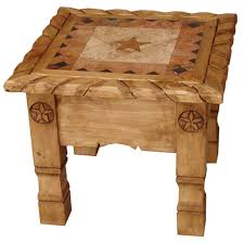 rustic pine end table rustic furniture texana star mexican rustic pine end table with