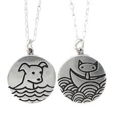 cat necklace sterling silver images Silver swimming dog boating cat necklace jpg