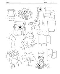 color the picture which end with letter g printable coloring worksheet