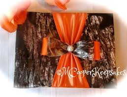 wedding guest book and pen set mossy oak satin camo orange guest book and pen set with deer