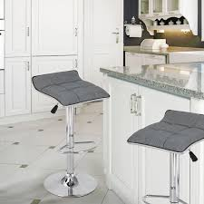 adeco grey fabric backless adjustable bar stools set of 2 ch0292