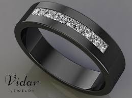 black mens wedding band black gold princess cut unique mens wedding band vidar jewelry