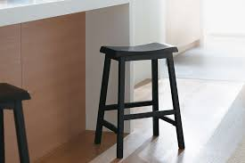 furniture natural wood countertop stools with small back for