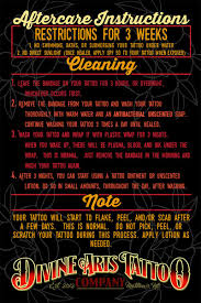 tattoo care swimming aftercare instructions divine arts tattoo