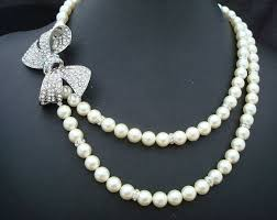 pearl bow necklace images Pearl bow necklace chanel pearl necklace fake but cute my style jpg