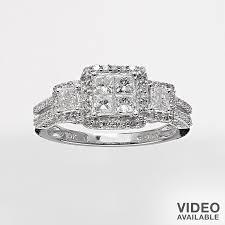 kohl s wedding rings kohls ring white gold 1 ct t w princess ring 10k