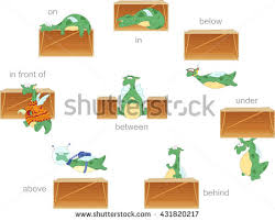 cartoon dragon prepositions movement up down stock vector