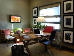 home office with tv a brick wall gives this home office character while the number of