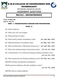 me2401 mechatronics question bank for regulation 2008