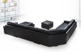 Modern Black Sofas Ritz Modern Black Leather U Shaped Sectional Sofa