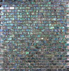 green abalone shell mosaic tile on mesh with ceramic tile base