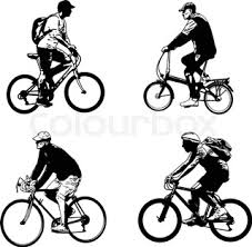 female bicyclist silhouette and illustration vector stock