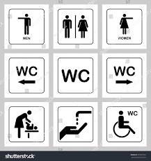 wc toilet door plate icons set stock vector 573351079 shutterstock