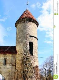 old houses and towers with a red roof stock image image 31145291