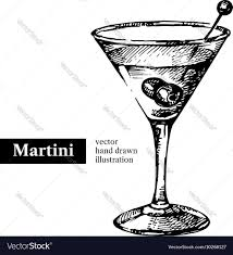 cosmopolitan drink drawing hand drawn sketch cocktail martini vintage vector image