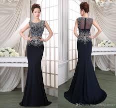 2017 new navy blue prom dress fishtail long beaded jewelry elegant