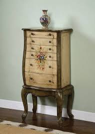 Jewelry Armoire Antique White Powell French Garden Antique White And Olive Greens Hand Painted