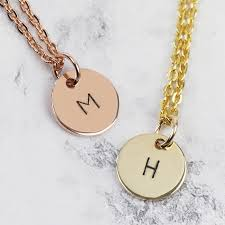 gold solid necklace images Hand stamped 9ct gold initial disc charm necklace lisa angel jpg
