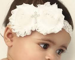 white headband baptism headband etsy