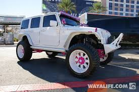 pink jeep rubicon 2014 sema white pink dub jeep jk wrangler unlimited