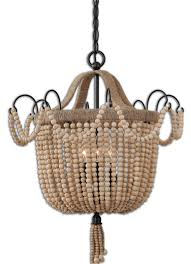 Beaded Wood Chandelier Accessories Wood Bead Chandelier With Black Wall And White