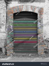 old rolling door background gray color stock photo 283607501