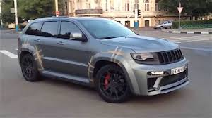 dark gray jeep grand cherokee video hellcat jeep cherokee srt caught testing mopar connection