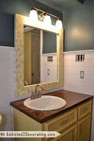 Mosaic Bathroom Mirror Bathroom Makeover Day 14 Diy Mosaic Wood Tile Mirror Frame
