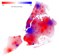 Map Of New York City Neighborhoods by Heat Map Shows Average Sat Scores Across New York City