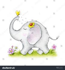 baby elephant butterfly stock illustration 576392686
