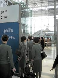 air bureau file air flight attendants at a aircrew counter of the