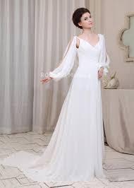 robe mariã e manche longue col en v manches longues découpées ornée de ruches robe de mariée