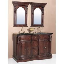 granite top 60 inch double sink bathroom vanity with a pair of
