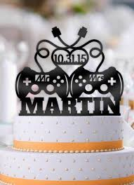 gamer cake topper personalized controllers mr mrs with name and date wedding