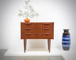 mid century entry table 1960s danish modern teak small scale chest drawers entry table mid