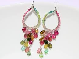 chandelier earrings watermelon tourmaline chandelier earrings in sterling silver
