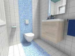 mosaic tile bathroom ideas modern powder room with playful blue mosaic tile stripe on the
