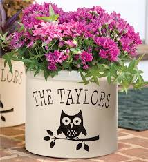 personalized flower pot usa made handcrafted personalized owl crock deck planters