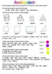 intermediate esl worksheets describing objects