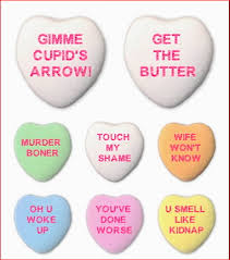 valentines heart candy sayings side lines rejected valentines candy hearts messages