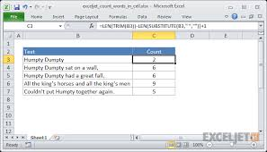 Count Number Of Words In Excel Excel Formula Count Total Words In A Cell Exceljet