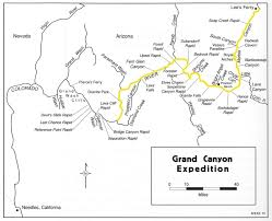 Arizona Us Map by Grand Canyon River Expedition Map Grand Canyon National Park Az