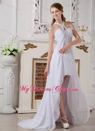 low empire chiffon halter top beading wedding dress with brush train
