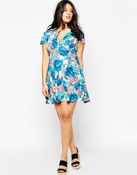 club l plus size skater dress with open neck in blue floral print