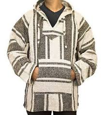 baja sweater poncho baja hoodie surfer skater rug jacket beige ebay