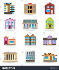 buildings houses different architectural styles vector stock