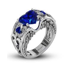 vancaro engagement rings blue sapphire heart cut angel wing ring for women