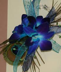 blue orchid corsage blue orchids with peacock feather prom corsage prom111 prom111