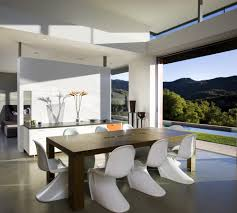 concrete sideboard dining room modern with vaulted ceiling
