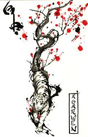 flowers and tiger design